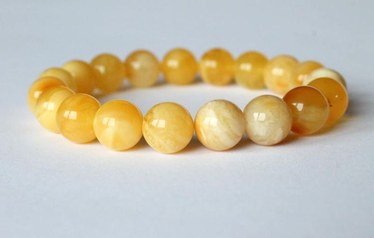 Yellow amber bracelet, organic amber jewelry, round amber beads, amber jewellery, natural Baltic amber, gemstone bracelet, natural jewelry by AmberDesign8 on Etsy