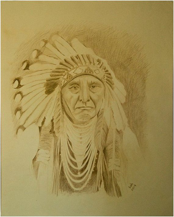 """Native American man wearing feather headdress, Chief Joseph the younger of the Nez Perce, original pencil drawing, sepia, 20"""" x 25"""""""