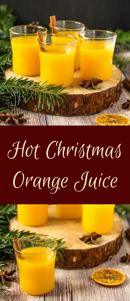 Simple non-alcoholic hot orange juice with Christmas spices to warm up during cold days