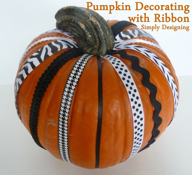Pumpkin Decorated With Ribbon | Simply Designing #pumpkins  #pumpkindecorating #halloween #halloween2012 #