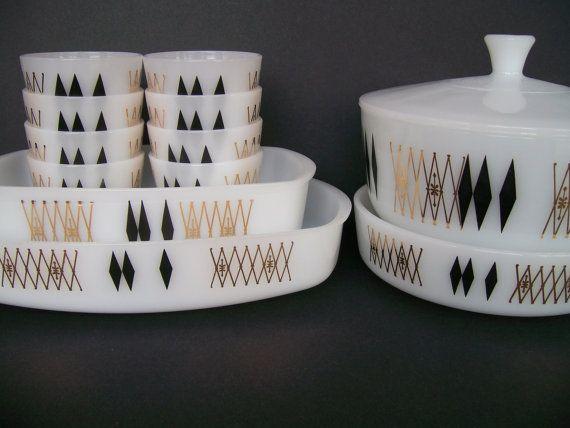 Atomic Kitchen Federal Glass Black Diamond by RetropolitanHolmes