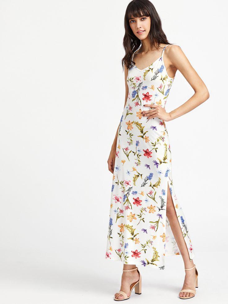 White V-Neck Back Lace Up High Slit Botanical Cami Dress