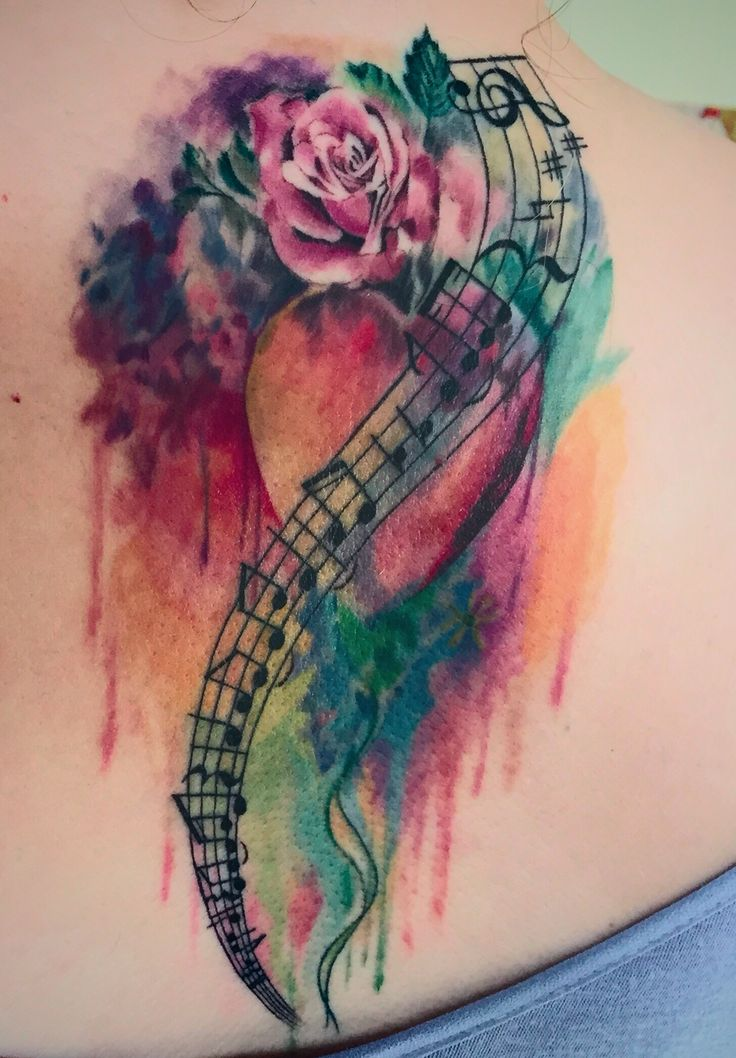 Watercolor Tattoo Music notes Tattoo