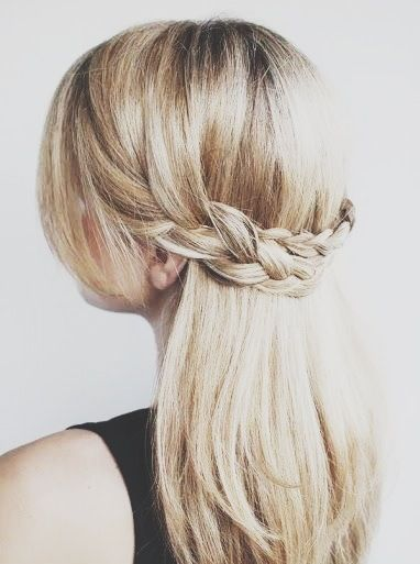 braided half up half down hair style