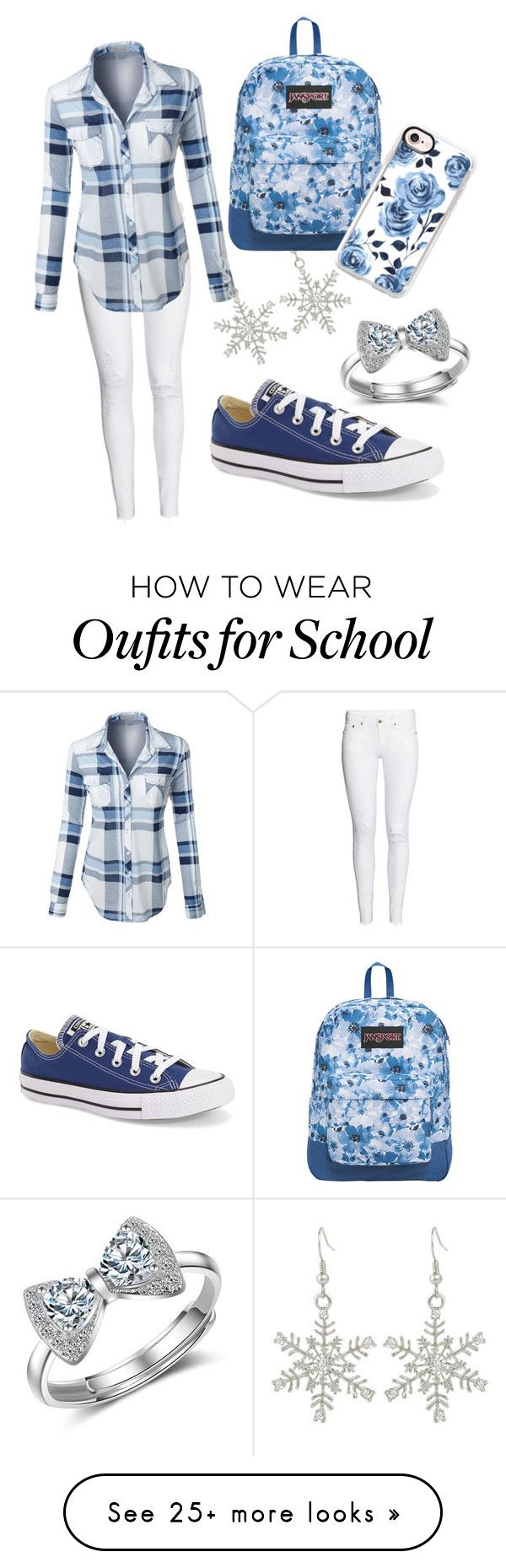 """Blue day at school"" by luisaos on Polyvore featuring H&M, Converse, LE3NO, JanSport and Casetify"