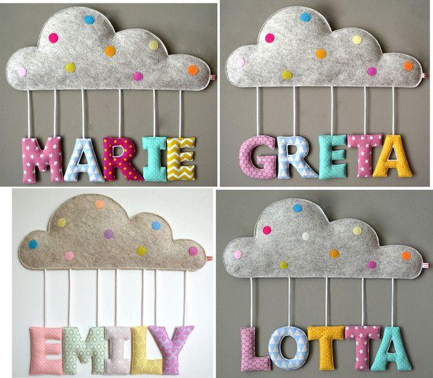 **Ein wunderschönes Geschenk zur Geburt oder Taufe:**  Ein wunderhübsches Namensschild in Form einer kleinen Wolke mit dem Namen des kleinen Neuank…