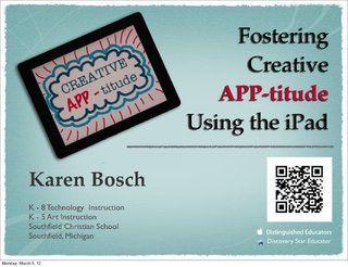 creative-apptitude-ipad-multimedia-tools-for-creativitity by Karen Bosch via Slideshare - Com links para 93 ferramentas este E-Book gratuito em http://www.estrategiadigital.pt/e-book-producao-de-conteudos/ vai ajudá-lo na produção de conteúdos relevantes para envolver os fãs do seu negócio, marca e/ou empresa online.