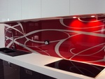 Red & silver metallic glass splashback