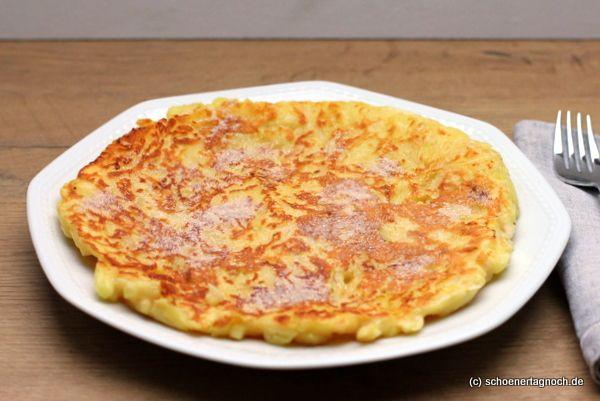 100g Mehl 150ml Milch 2 Eier 3 EL Zucker 1 TL gemahlene Haselnüsse Salz 1-2 Äpfel (je nach Größe) 1 EL Zitronensaft 1/2 TL Zimt 3 EL Butter