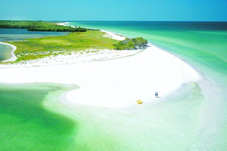 Caladesi Island, Dunedin, Florida, near Tampa. This secluded beach has beautiful crystal white sands.