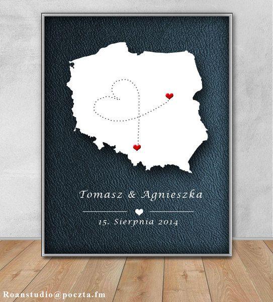 Pamiątkowy obrazek prezent ślub wesele Mapa Polska w Roanstudio na DaWanda.com
