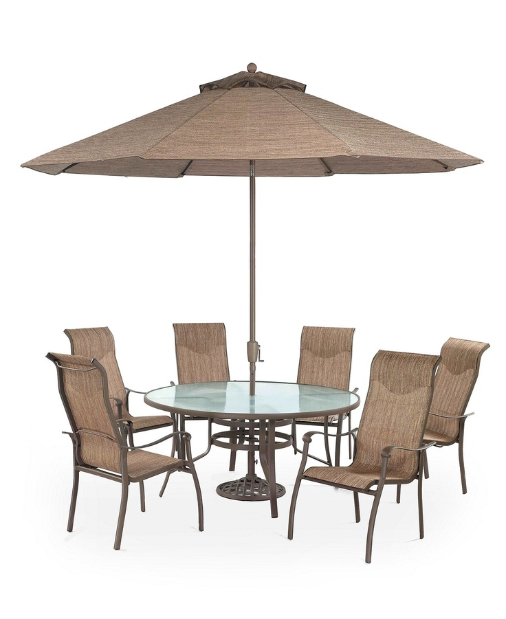 Oasis Outdoor Patio Furniture 7 Piece Set 60 Round Dining Table and 6 Dinin