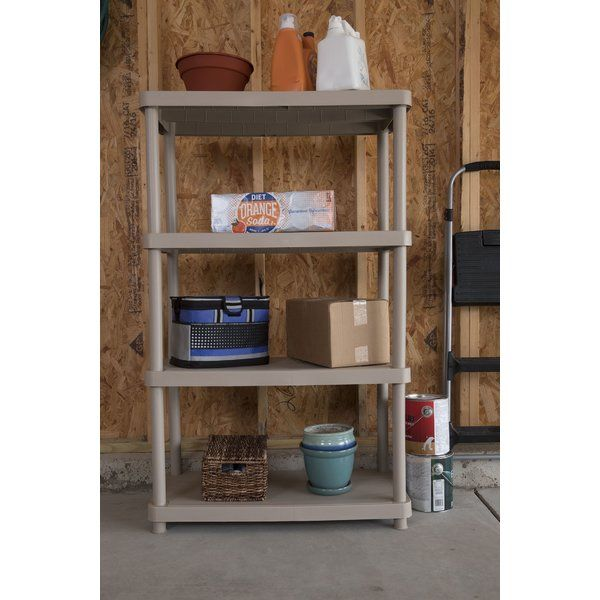 "The Keter Freestanding Plastic Storage 54.5"" H Four Shelf Shelving Rack Unit is ideal for adding additional storage where you need it. Whether you're looking for garage storage solutions or need a plastic shelving unit that's just the right size, this shelving unit is sure to do the trick. You'll appreciate its easy assembly, and its simple design."