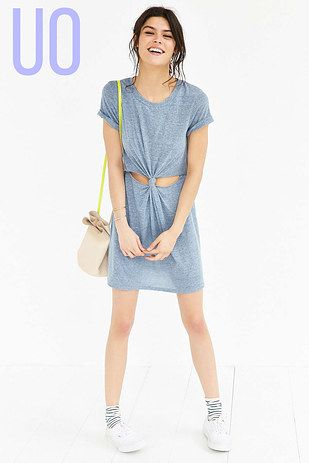 Get prepped for the summer by making this highly necessary punch knot dress with nothing but a long shirt or an old dress. | 21 DIY Tricks To Have An Urban Outfitters Closet Without Spending The Dough