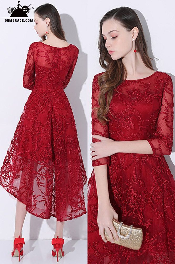 d80ab1379c 2018 Burgundy Red Lace Homecoming Party Dress with Sleeves  AMA86031 ...
