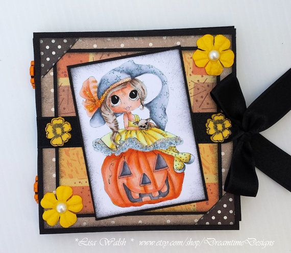 Post-It Note Holder - Halloween Witch & Pumpkin by DreamtimeDesigns.