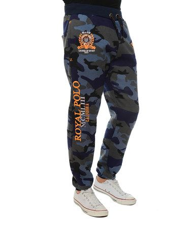 Take a look at this Blue Army Print Royal Polo Joggers by Geographical Norway on #zulily today!