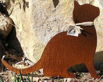 Rusty Finish Kitty Cat Metal Garden Art Yard Stake Inspiration