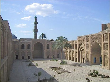 Mustansiriya Madrasah, Baghdad, Iraq  Mustansiriya Madrasah (Arabic,المدرسة المستنصرية) is a historical building in Baghdad, Iraq. It was the premises of one of the oldest Islamic universities in the world, established in 1227 as a Madrasah by the Abbasid Caliph al-Mustansir making it one of the oldest universities in the world. It is located on the left bank of the Tigris River, the building survived the Mongol invasion of 1258, and has been restored.