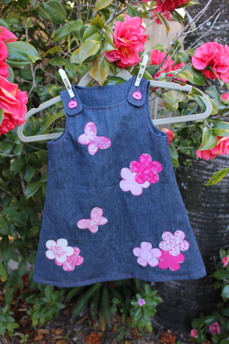 Butterfly Garden Denim Toddler Dress by ByCatDesign on Etsy