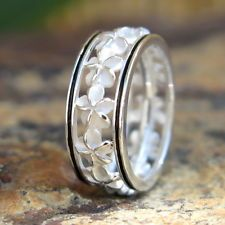 Hawaiian Silver Black Border Plumeria Flower Lei Wedding Ring Band 6mm SR2191
