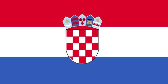 The Croatia flag was officially adopted on December 22, 1991.           The red, white and blue are traditional Croatian colors. The centered coat of arms was first used during World War II. The shields are from the arms of  five of Croatia's regions, including Croatia, Dubrovnik, Dalmatia, Istria and Slavonia (left to right). The red and white checks are Croatian symbols.