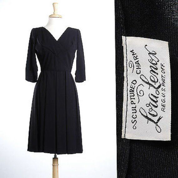 Small 1950s Dress Classic Little Black Dress Detailed Bust Pleated Skirt Cocktail Party 1950s Vintage Elbow Sleeves