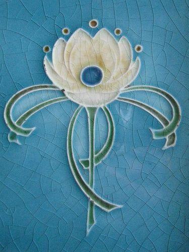 Art Nouveau Fireplace Surround Tile of a Rose