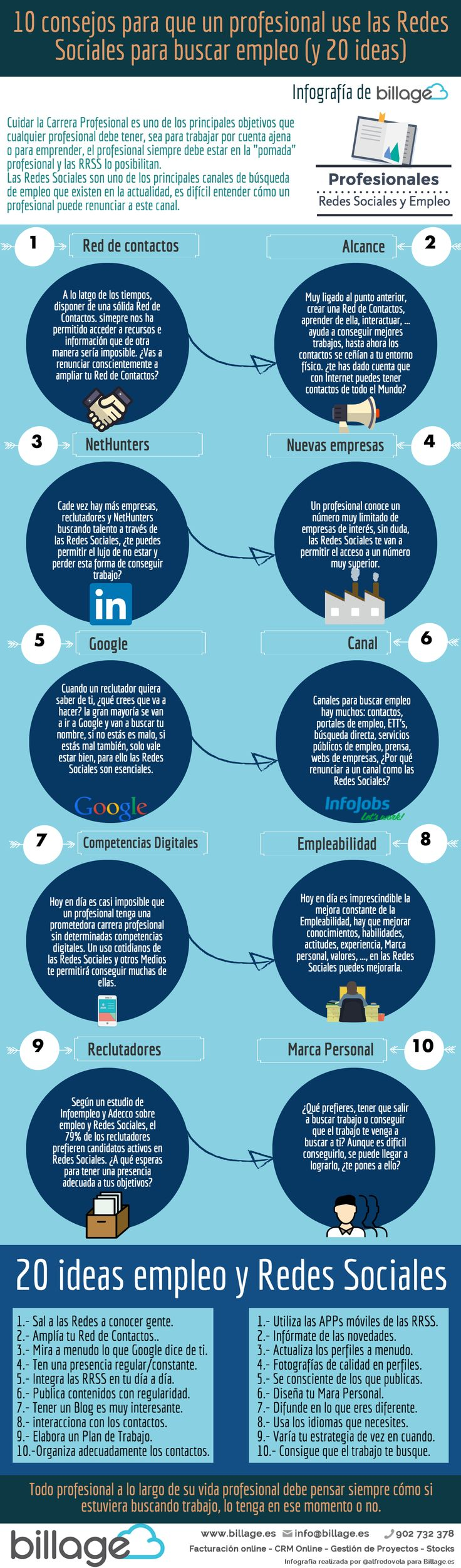 10 consejos sobre profesionales y Redes Sociales para buscar empleo (y 20 ideas) #infografia