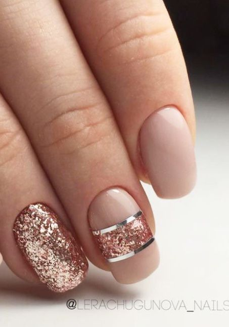 Peach Nude Nails With Rose Gold And Silver Accents Nails Nailart