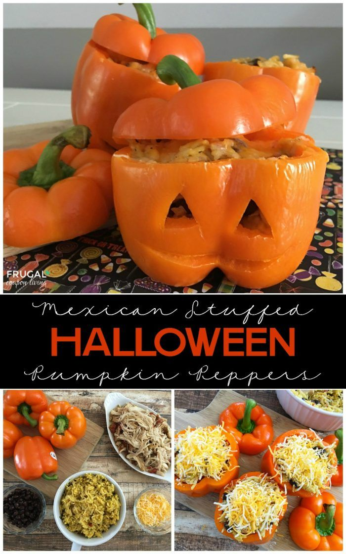 Mexican Stuffed Halloween Pumpkin Peppers plus more food crafts for Halloween on…