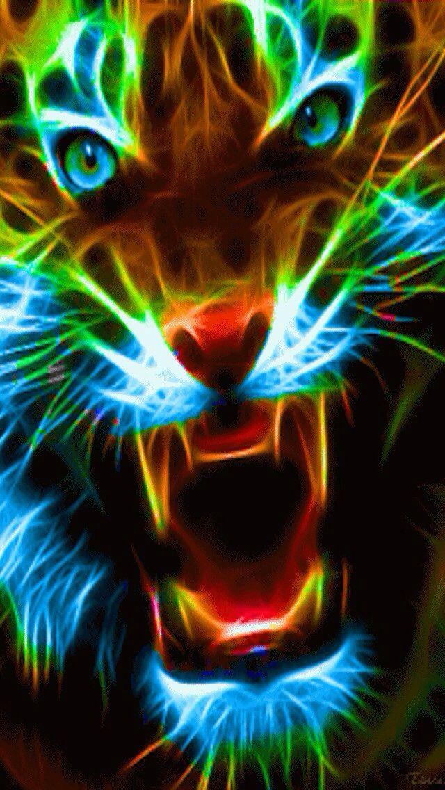 Neon big cat iphone wallpaper background iphone - Cool animal wallpaper light ...