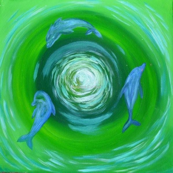 Mandala Radości 2013  Adriana Karima Rozmiar oryginału 50 cm x 50 cm   Delfiny są symbolem radości, zabawy i uzdrowienia.   Oryginał obrazu w kolekcji prywatnej Dostępne reprodukcje Koloryduszy.com