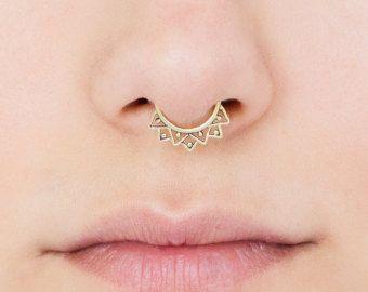 Tribal Septum Ring for pierced nose. septum piercing. brass