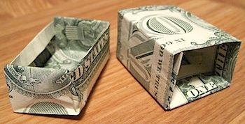 origami dollar bill gift box