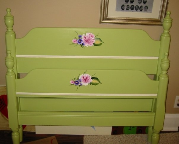 repainted vintage single bed frame lime green  cream and