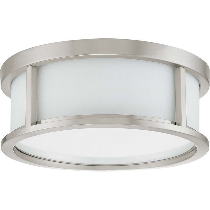 Home Depot - Upstairs Hallway - Odeon  2 Light 13 Inch Flush Dome with Satin White Glass Finished in Brushed Nickel