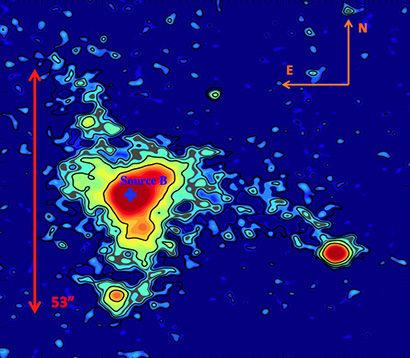 """Vast luminous nebula poses a cosmic mystery  Glowing nebula found at the heart of a huge """"protocluster"""" of early galaxies appears to be part of the cosmic web of filaments connecting galaxies, but what's lighting it up?"""