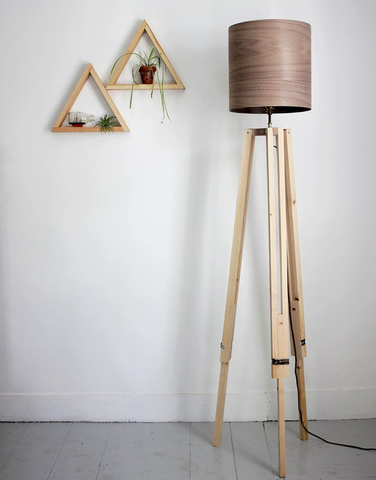 DIY Wooden Tripod Lamp with Veneer Lampshade