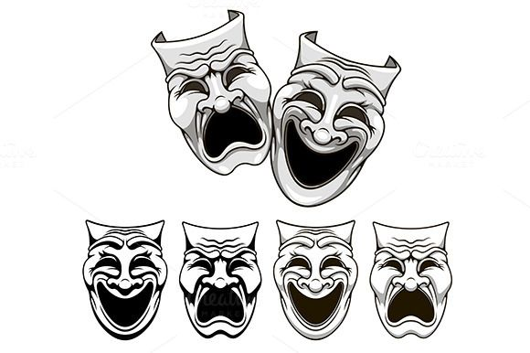 Tragedy and comedy theater masks by seamartini on @creativemarket