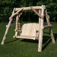 Cedar Massive Log Swing - Outdoor Log Furniture | #logswing