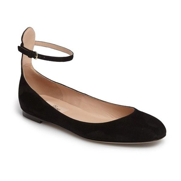Women's Valentino Ankle Strap Ballet Flat (21335 TWD) ❤ liked on Polyvore featuring shoes, flats, black suede, ballet pumps, strappy flats, ankle tie ballet flats, ankle wrap ballet flats and t-strap flats