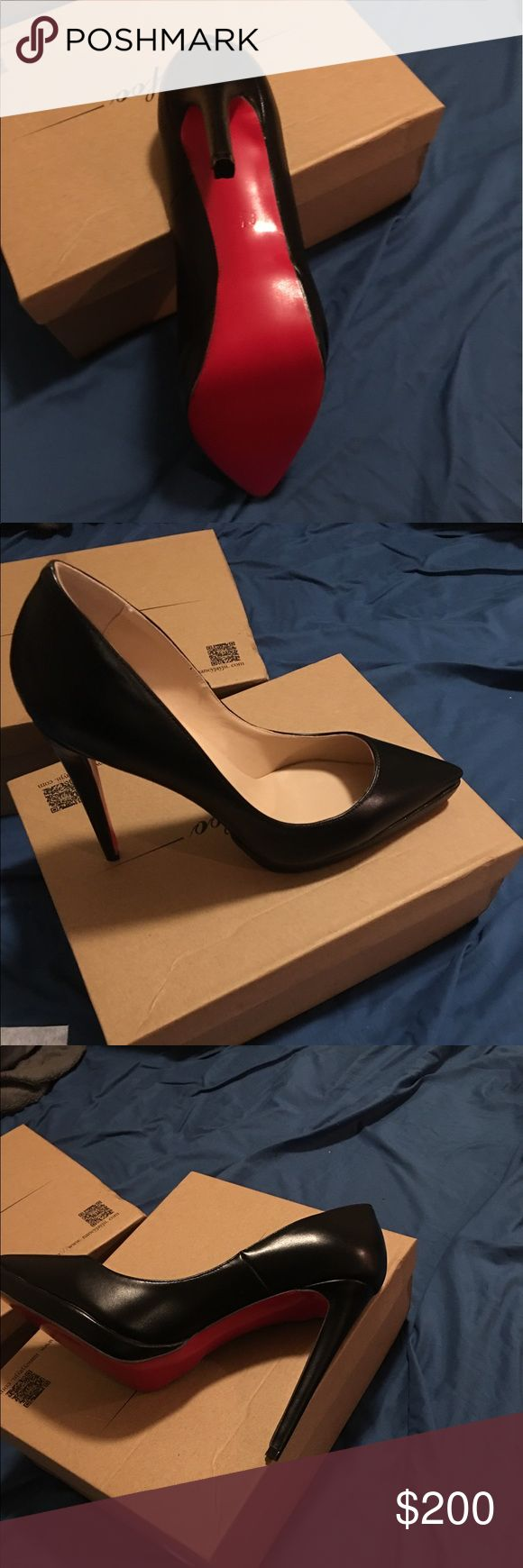 Thofoe red sole ladies shoes Red sole ladies shoes. So cute and Katy has never been worn. Brand new. It Says size 8.5 but it's a real size 9 American size. Comes with box and dust bag. Thofoe Shoes Heels