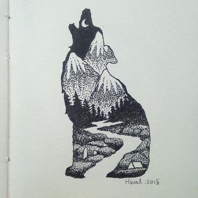 #camping #wildlife #mountains #illustration #art