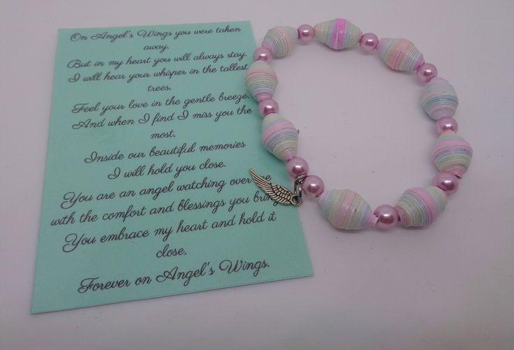 Handcrafted Angel Wing Paper Bead Bracelet (Watercolor pastel, Friendship, Bereavement) by BeadsByChelle on Etsy