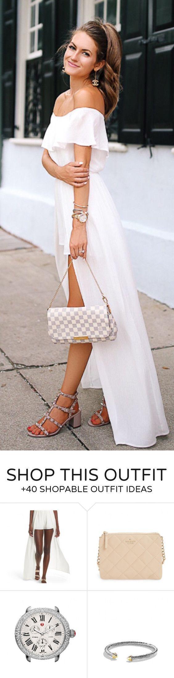 #outfits #summer blancos fuera del hombro sandalias del vestido maxi + gris tachonado