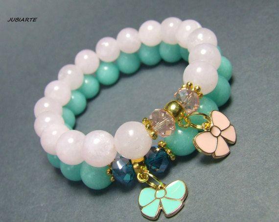 TWINS OF JADE Set of Bracelets Stretch bracelet by JUBIARTE