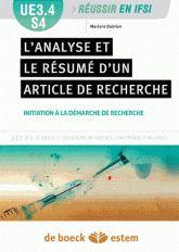 L'analyse et le résumé d'articles de recherche. UE3.4 S4, Initiation à la démarche de recherche