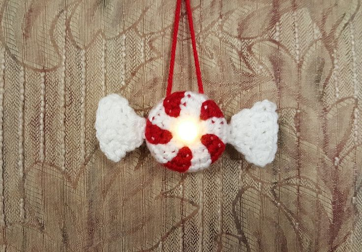 Lighted Peppermint Candy Ornament - Free Pattern