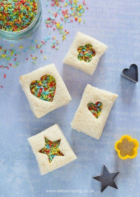 Cute mini fairy bread sandwiches made with homemade rainbow coconut sprinkles - perfect for lunch boxes and kids party food